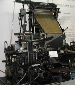 Linotype machine, photo courtesy of wikipedia