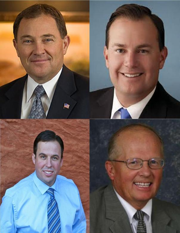 Left to right, top to bottom: Gov. Herbert, Sen. Lee, Victor Iverson, & Rep. Noel
