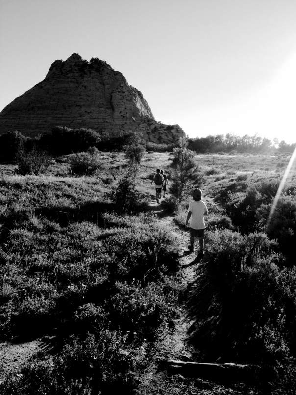 Walking out at sundown, Zion National Park