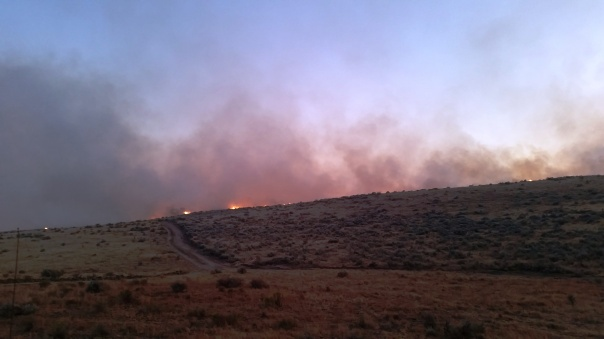 Fire closes in to the south and jumps the road.